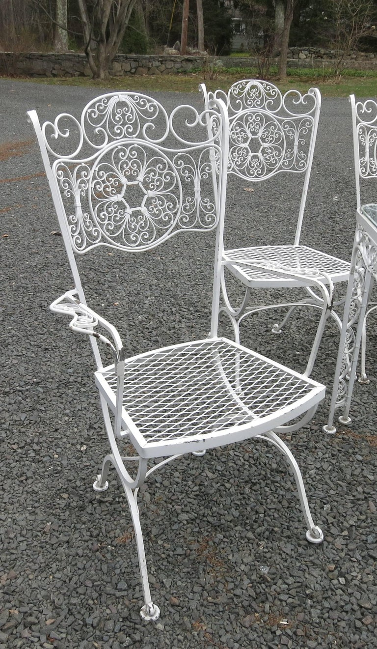 Woodard Andalusian Dining Set Cast Iron Patio Set of Seven Pieces In Good Condition For Sale In Newtown, CT