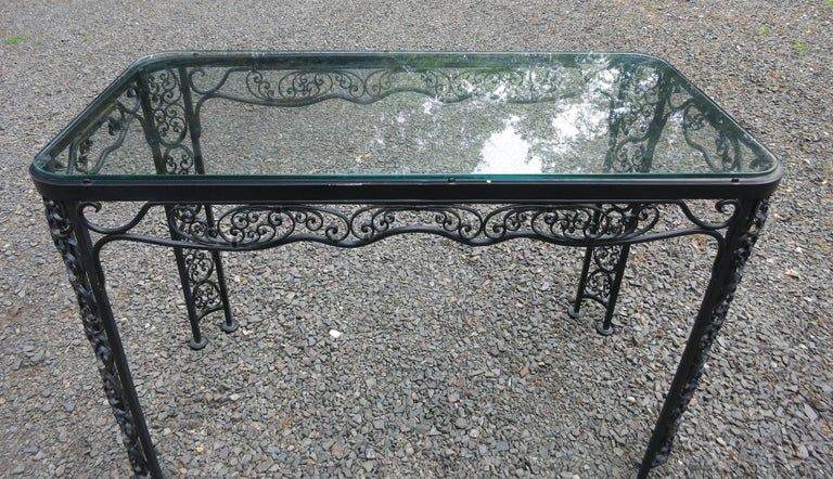 Woodard Andalusian Pattern Console, Server Vintage Patio Furniture In Good Condition For Sale In Newtown, CT