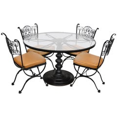 Woodard Andalusian Wrought Iron Patio Dining Set Round Table 4 Chairs