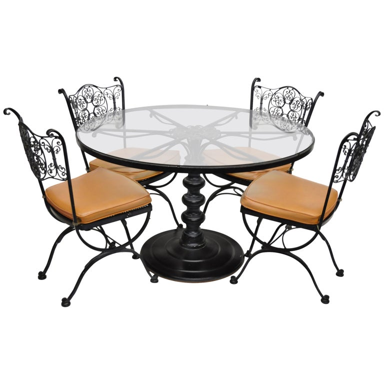 Woodard Andalusian Wrought Iron Patio Dining Set Round Table 4