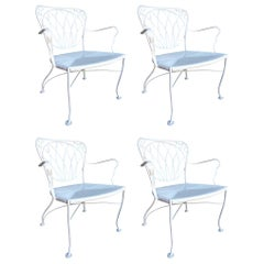 Woodard Art Nouveau Iron Patio/Outdoor Lounge Chair, Set of 4