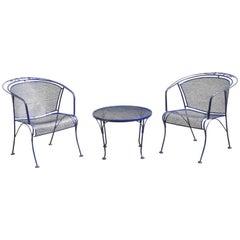 Woodard Barrel Back Blue Wrought Iron Rose Pattern Garden Armchairs & Table Set