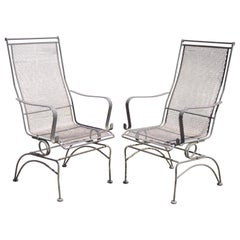 Woodard Bradford Collection Spring High Back Wrought Iron Patio Chairs, a Pair