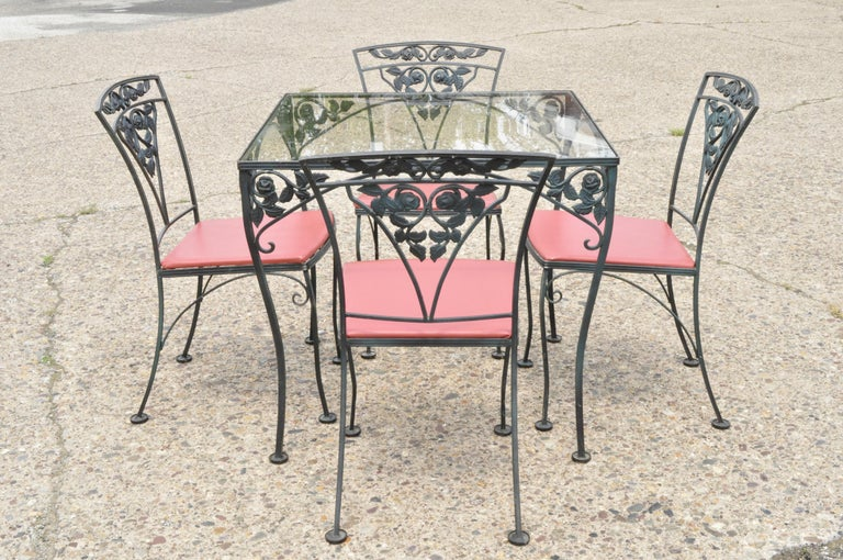 Woodard Chantilly Rose Green Garden Patio Dining Set of 4 Chairs & Square Table 3