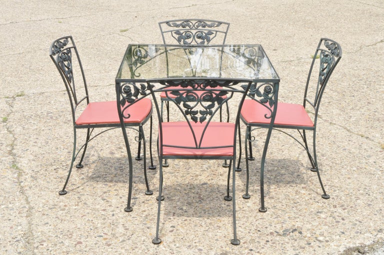 Woodard Chantilly Rose Green Garden Patio Dining Set of 4 Chairs & Square Table 5