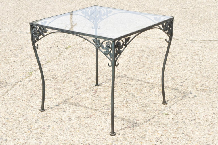Woodard Chantilly Rose green garden patio dining set of 4 chairs and square table. Listing features 5 piece set, square glass top table, 4 side chairs, Chantilly Rose pattern, very nice antique item, quality American craftsmanship, circa mid-20th