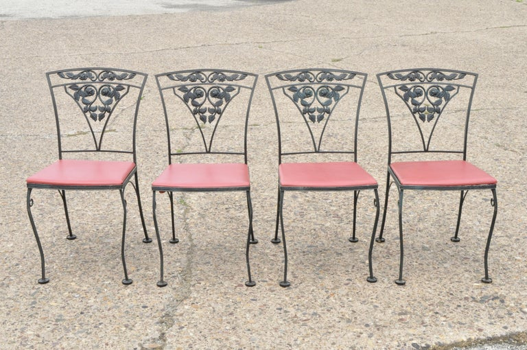 Victorian Woodard Chantilly Rose Green Garden Patio Dining Set of 4 Chairs & Square Table
