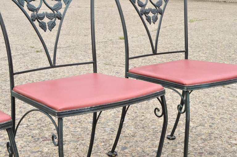 Woodard Chantilly Rose Green Garden Patio Dining Set of 4 Chairs & Square Table 1