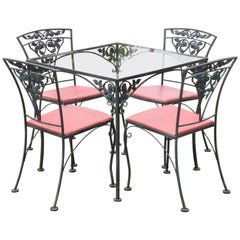 Woodard Chantilly Rose Green Garden Patio Dining Set of 4 Chairs & Square Table