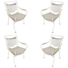 Woodard Company Mesh Outdoor Patio Lounge Chair with Leaf Pattern Arms