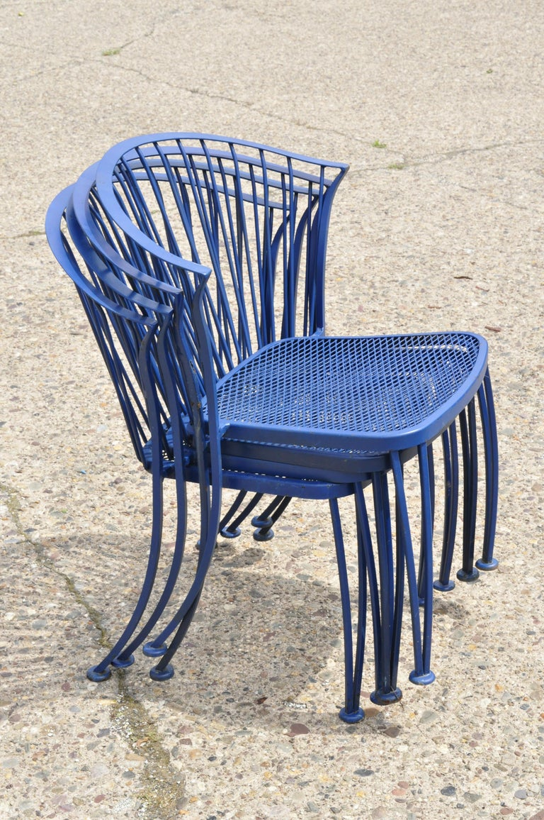Woodard Pinecrest Blue Wrought Iron 5pc Patio Garden Dining 4 Chairs Round Table For Sale 4