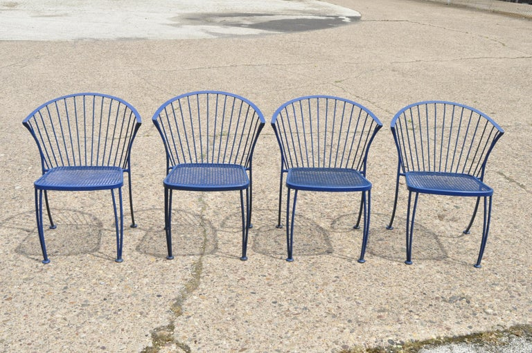 Woodard Pinecrest Blue Wrought Iron 5pc Patio Garden Dining 4 Chairs Round Table For Sale 5