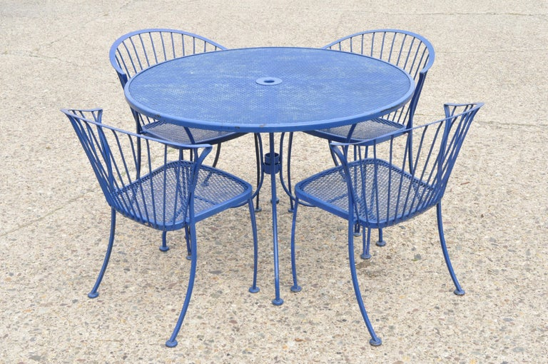 Woodard Pinecrest Blue Wrought Iron 5pc Patio Garden Dining 4 Chairs Round Table For Sale 6
