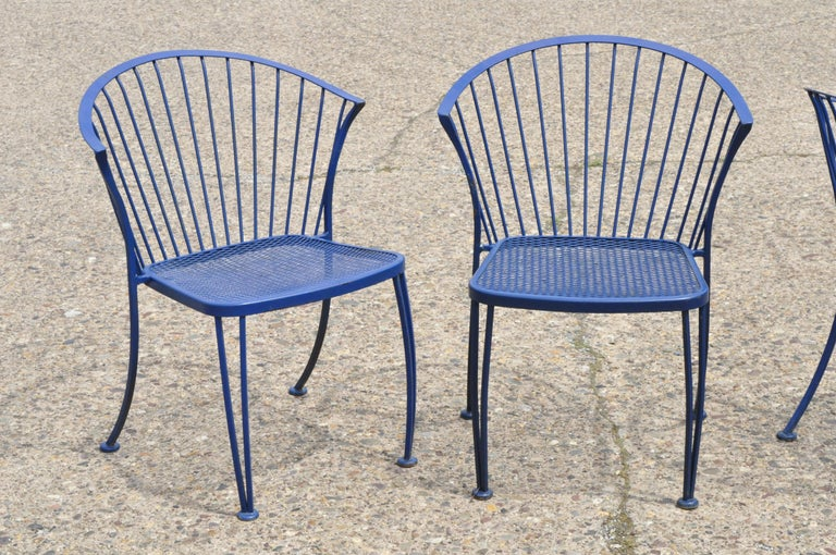 American Woodard Pinecrest Blue Wrought Iron 5pc Patio Garden Dining 4 Chairs Round Table For Sale