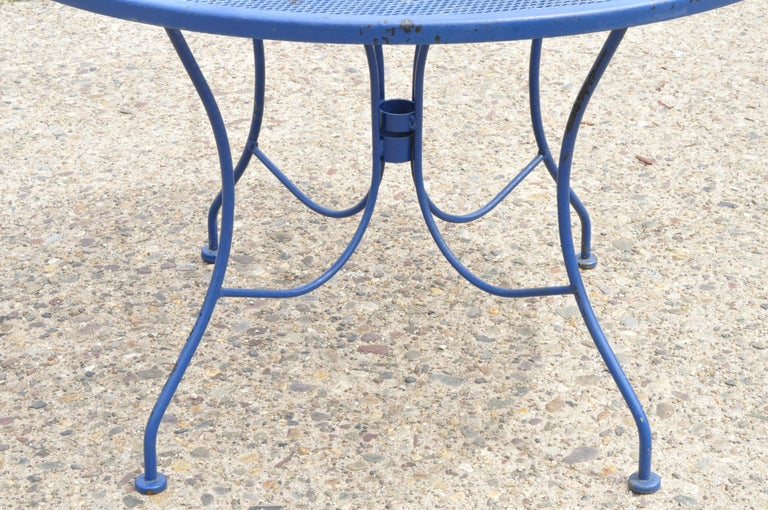 Woodard Pinecrest Blue Wrought Iron 5pc Patio Garden Dining 4 Chairs Round Table For Sale 1