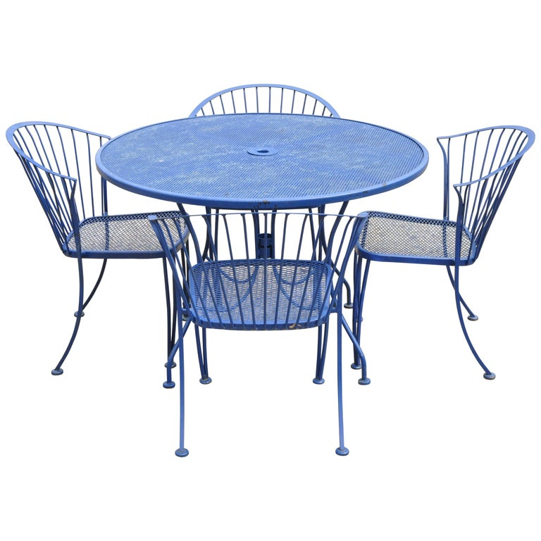 Woodard Pinecrest Blue Wrought Iron 5pc Patio Garden Dining 4 Chairs Round Table For Sale