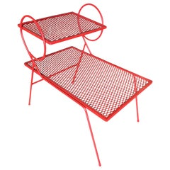 Woodard Red Lolipop Mesh Steel Outdoor Patio Side Table
