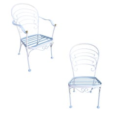 "Woodard ""Ribcage"" Patio/Outdoor Lounge Chair w/ Brass Accent, Set of Two"