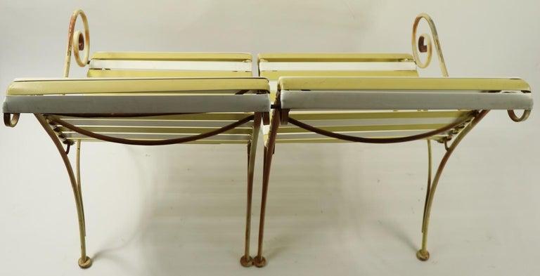 Woodard Scroll Arm Plastic Strap Settee For Sale 3