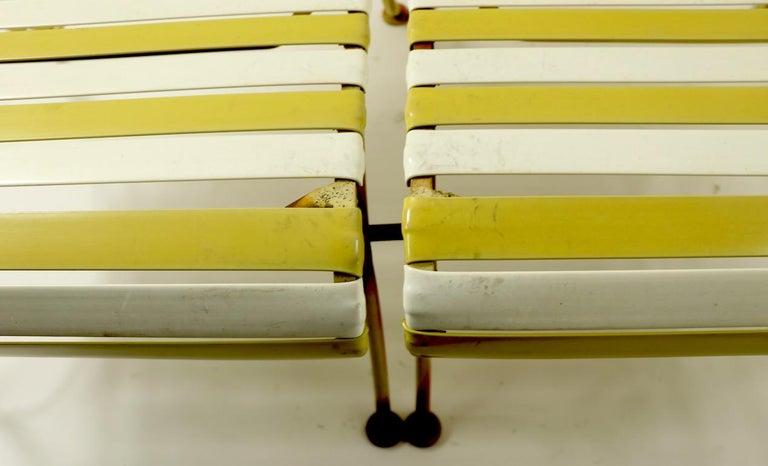 Mid-20th Century Woodard Scroll Arm Plastic Strap Settee For Sale