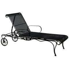 Woodard Style Wrought Iron Patio Chaise Lounge