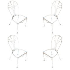 Woodard Tropical Leaf Iron Patio/Outdoor Lounge Chair, Set of Four