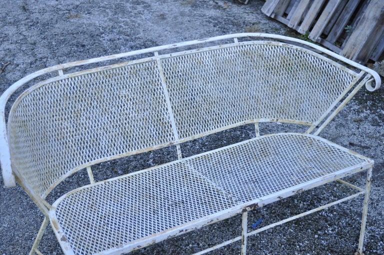 Mid-Century Modern Woodard Vintage Midcentury Wrought Iron Barrel Back Garden Patio Bench Loveseat For Sale