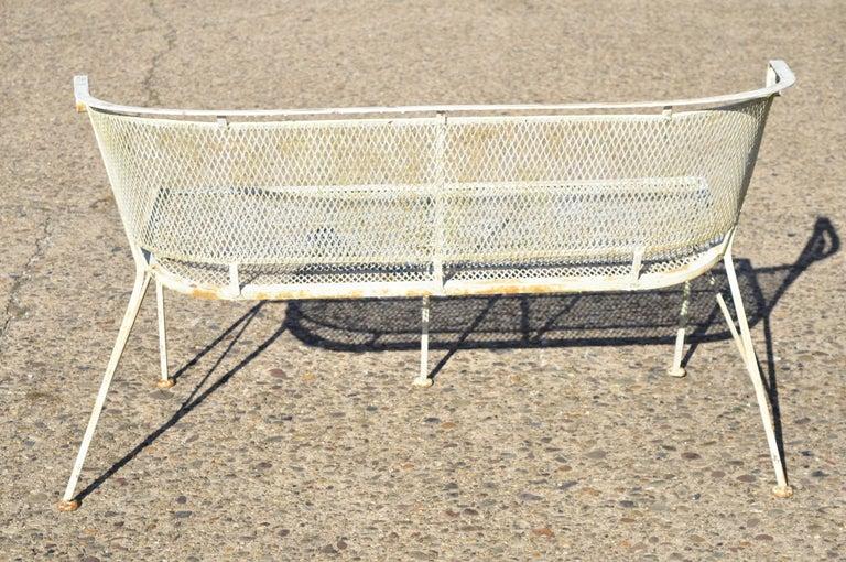 Woodard Vintage Midcentury Wrought Iron Barrel Back Garden Patio Bench Loveseat For Sale 2