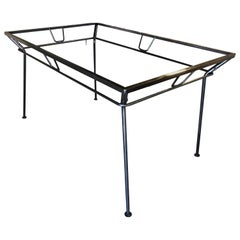 Woodard Wrought Iron and Glass Art Deco Patio / Outdoor Table