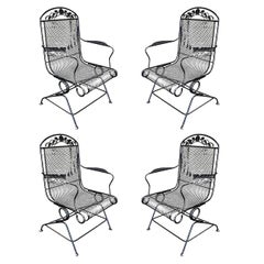 Woodard Wrought Iron High Back Gliding Lounge Chair, Set of Four