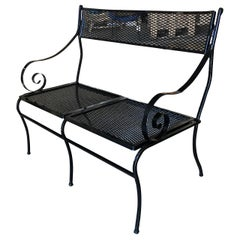Woodard Wrought Iron Mesh Loveseat Bench, Scrolling Arms