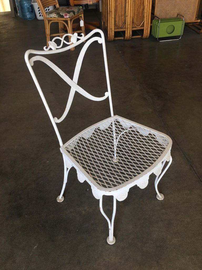 Mid-Century Modern Woodard Wrought Iron Scrolling Pattern Patio/Outdoor Set with Metal Skirt For Sale