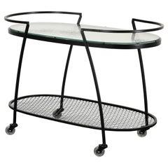 Woodard Wrought Iron Tea or Bar Cart, 1950s