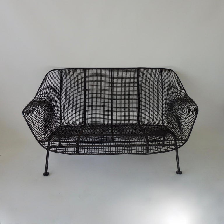 American Woodard Wrought Iron with Mesh Settee For Sale