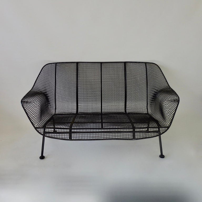 Powder-Coated Woodard Wrought Iron with Mesh Settee For Sale