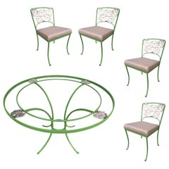 Woodard Wrought Patio/Outdoor Floral Pattern Table and Chairs Picnic Set