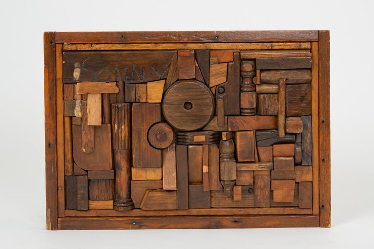 """A noted artist and gallerist from Erie, PA, Francis Schanz created this wooden assemblage in the tradition of Louise Nevelson and Mabel Hutchinson as part of his graduate work. Listed in the book, """"Francis T. Schanz: The Heart of Art"""" by Bob Nagle,"""