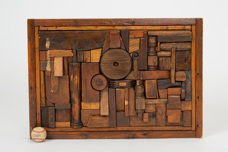 """Mid-Century Modern Woodblock Assemblage """"Sonny"""" by Francis Schanz For Sale"""