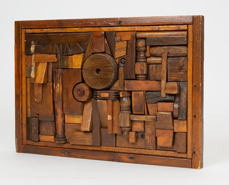 """American Woodblock Assemblage """"Sonny"""" by Francis Schanz For Sale"""