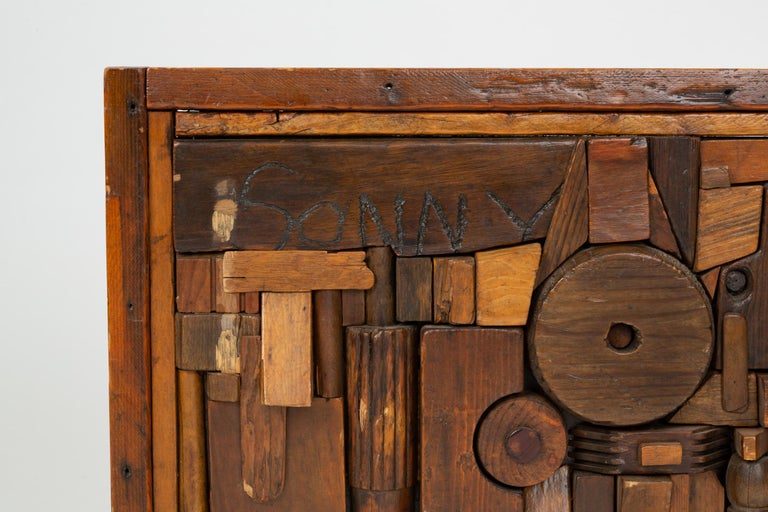 """Woodblock Assemblage """"Sonny"""" by Francis Schanz In Good Condition For Sale In Los Angeles, CA"""
