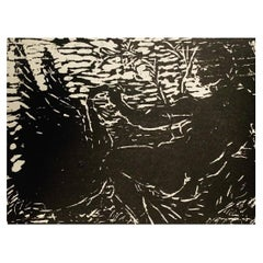 Woodcut of Leda and the Swan by Oscar Murillo