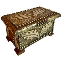 Wooden and Brass Folk Art Box
