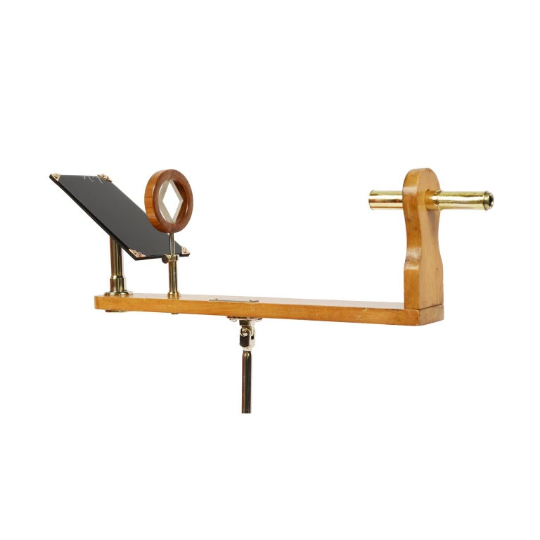 British Wooden and Brass Polarimeter with Cast Iron Tripod Base from the Late 1800s For Sale