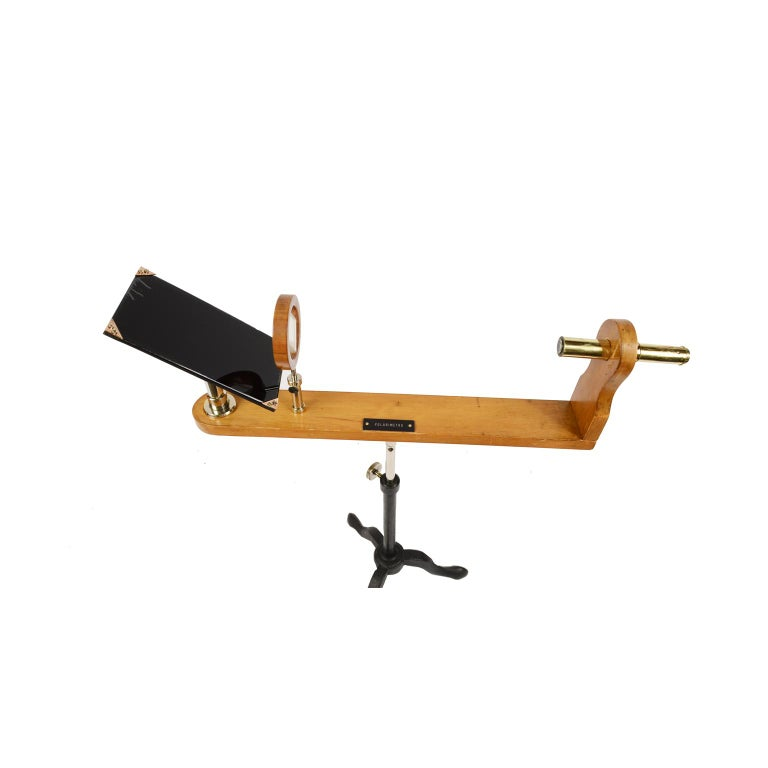 Wooden and Brass Polarimeter with Cast Iron Tripod Base from the Late 1800s For Sale 1