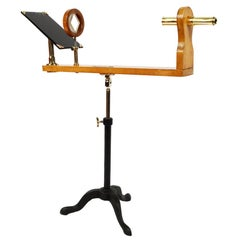 Wooden and Brass Polarimeter with Cast Iron Tripod Base from the Late 1800s