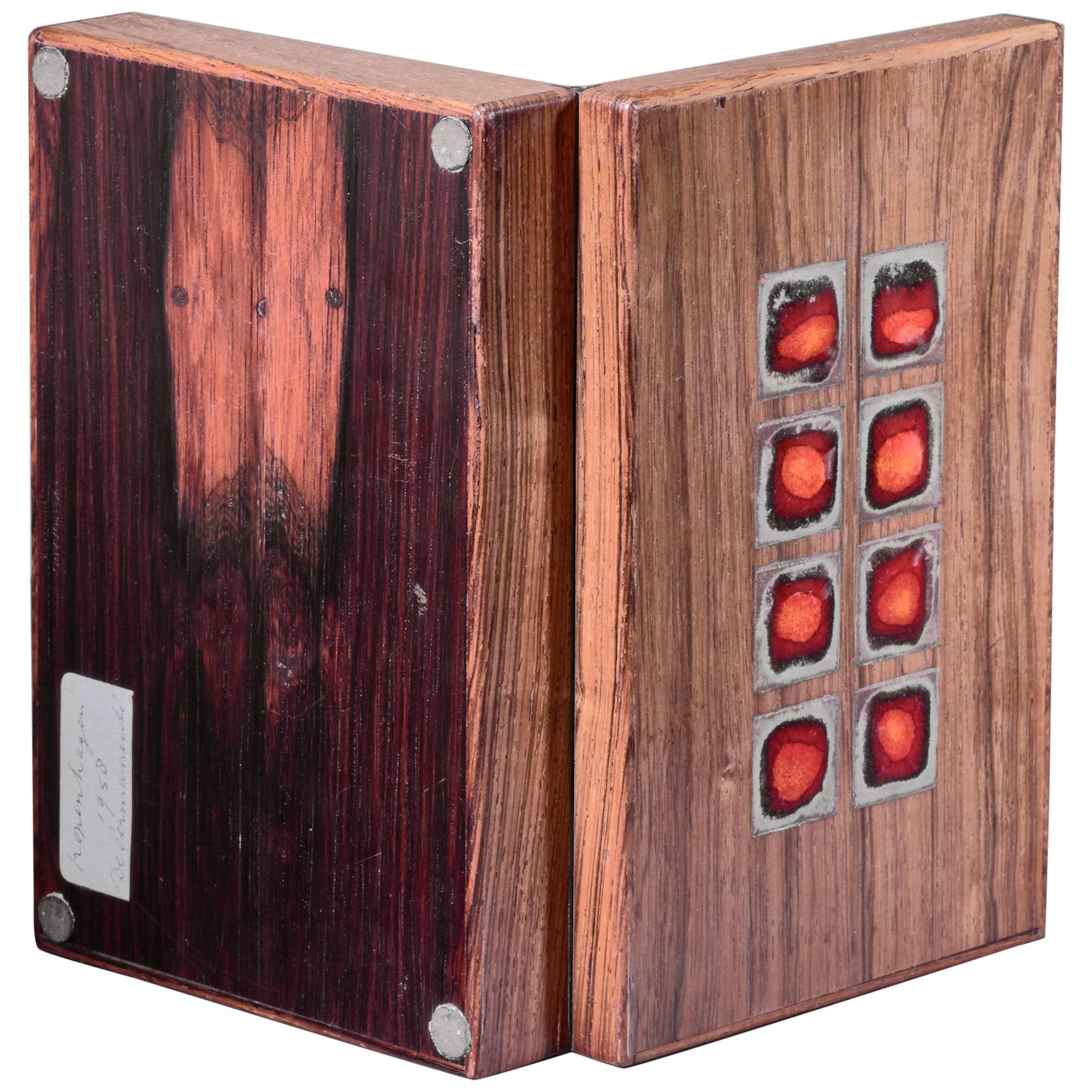 Wooden and Enamel Alfred Klitgaard Desk Top Storage Box