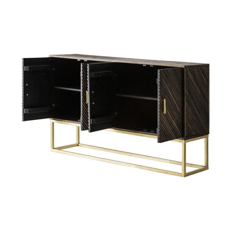 European Wooden and Gilded Metal Brutalist Design Sideboard For Sale