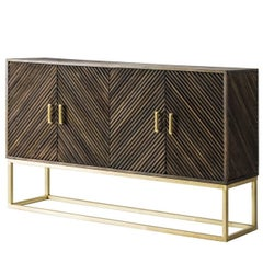 Wooden and Iron with Gold Patina Sideboard