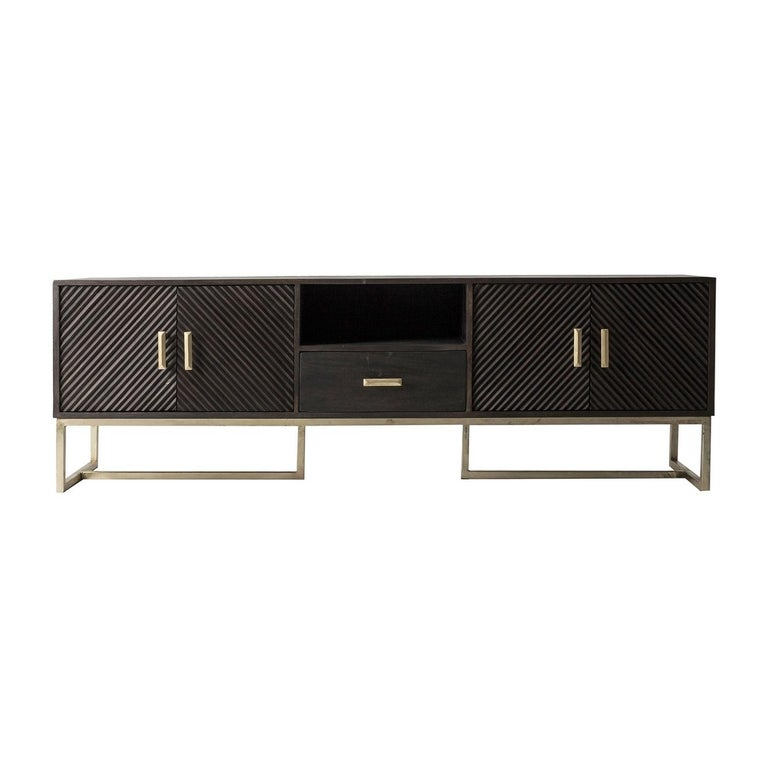 Wooden and metal sideboard with sleek design, gold patina feet and subtle work of the graphic doors with Brutalist style.