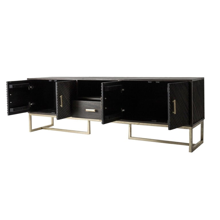 Wooden and Metal Brutalist Design Sideboard In New Condition For Sale In Halluin, FR